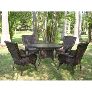 San Tropez 5-Piece Outdoor Dining Group, Antique Pecan