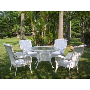 San Tropez 5-Piece Outdoor Dining Group, White