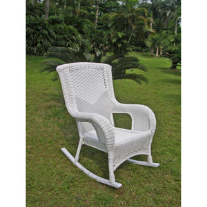 San Tropez Resin Wicker Aluminum Rocker, White