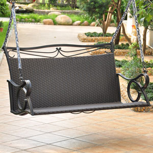 Corliving Wood Canyon Cinnamon Brown Outdoor Patio Swing Pwc 331 S