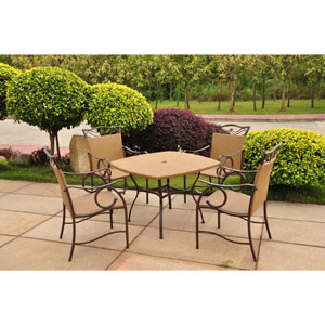 Valencia Resin Wicker/Steel Five-Piece Outdoor Dining Set