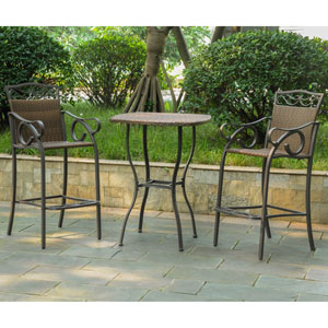 Set of 3 Valencia Resin Wicker/Steel Bar Height Bistro Group