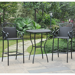 Valencia Black Bar Height Bistro Set, Set of Three