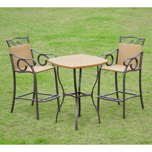 Valencia Resin Wicker/Steel Three-Piece Bistro Set