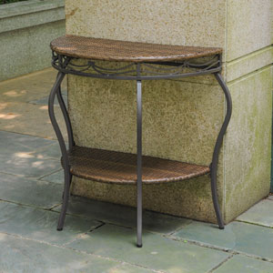Valencia Resin Wicker/Steel Two Tier Half Moon Wall Table
