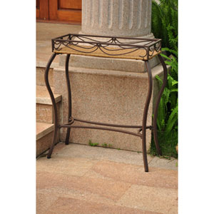 Valencia Resin Wicker/Steel Rectangular Plant Table
