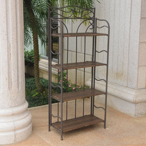 Valencia 4-Tier 24-inch Wide Plant Stand, Antique Brown