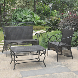 Valencia Black Skirted Settee Group, Set of Three