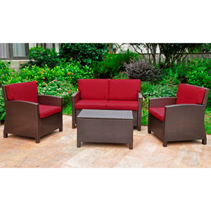 Set of 4 Lisbon Resin Wicker/Steel Settee Group with Cushions