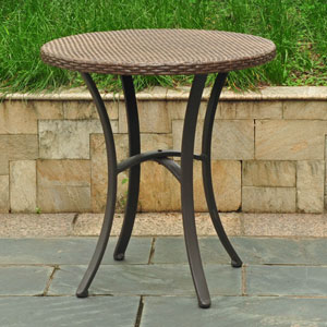 Barcelona Resin Wicker/Aluminum 28-inch Round Table, Light Brown