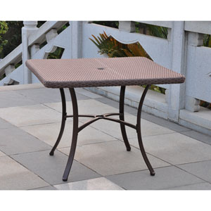 Barcelona Resin Wicker/Aluminum 39-inch Square Dining Table, Light Brown