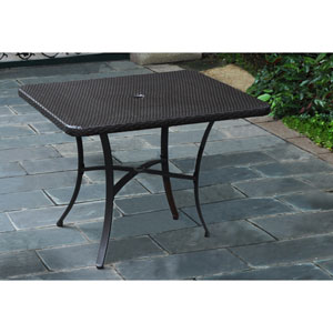 Barcelona Resin Wicker/Aluminum 39-inch Square Dining Table, Chocolate