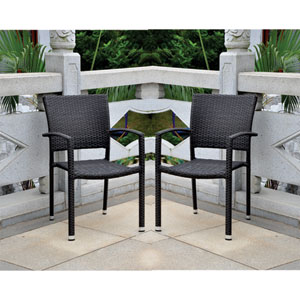 Set of Four Barcelona Resin Wicker Square Back Dining Chair