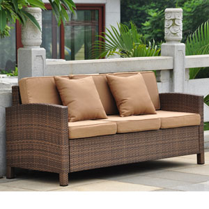 Barcelona Antique Brown Three Seat Sofa with Cushions