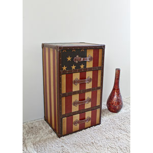 Vintage Stars and Stripes Cabinet, Red and Blue