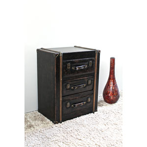 3 Drawer Faux Leather Chest, Antique Black
