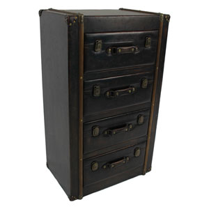 4 Drawer Faux Leather Chest, Antique Black