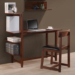 Hamburg Classic Mahogany Study Set with Side Shelf, Desk and Chair