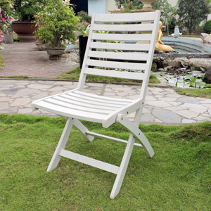 Acacia Set of Two Folding Ladder Back Chair with Antique White Finish