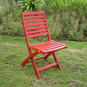 Acacia Set of Two Folding Ladder Back Chair with Barn Red Finish