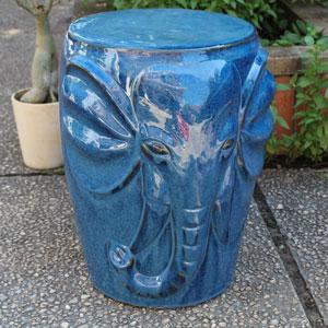 Navy Blue Wild Elephant Drum Ceramic Garden Stool