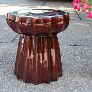 Brown Glazed Round Scalloped Ceramic Garden Stool