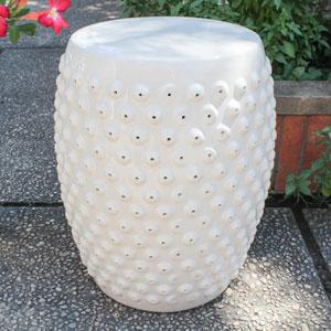 Perforated Antique White Drum Ceramic Garden Stool