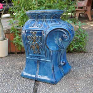 Navy Blue Contemporary Elephant Ceramic Garden Stool