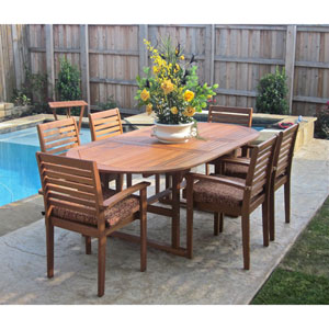 Cordova Set of 7 Wood Oval Dining Table with Chairs, Brown Stain