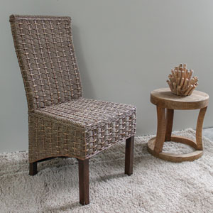 Bayu Banana and Seagrass Dining Chair, Brown Mahogany