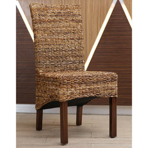 Gaby Woven Banana Dining Chair, Brown Mahogany