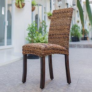 Lourdes Salak Brown Cushioned Seat Dining Chair