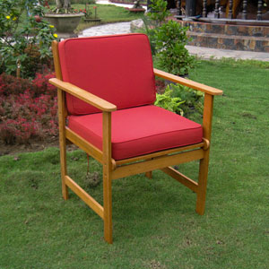 Set of Two Royal Tahiti Gulf Port Arm Chair with Ruby Red Cushions