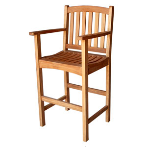 Royal Tahiti Wood Bar Height Arm Chair-Set of Two