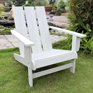 Acacia Large Square Back Adirondack Chair with Antique White Finish