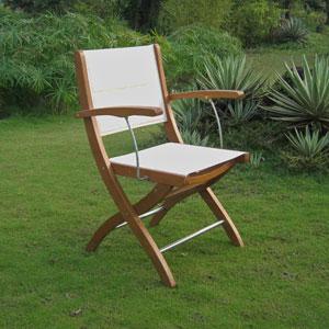 Royal Tahiti Ivory Textilene Folding Armchair