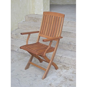 Royal Tahiti Outdoor Folding Arm Chairs, Set of Two