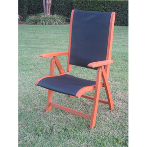 Royal Tahiti Outdoor Wood 5-Position Folding Chair with Blue Mesh Fabric-Set of Two
