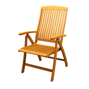 Royal Tahiti Outdoor 5-Position Folding Arm Chair-Set of Two