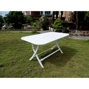 Acacia Rectangular Folding Table, Antique White