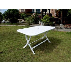 Acacia Rectangular Folding Table, Antique White