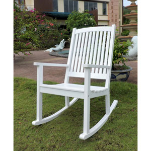 Acacia Large Rocking Chair, Antique White