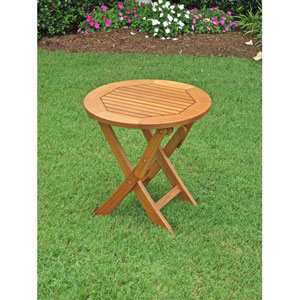 Royal Tahiti Outdoor Round 19-Inch Wood Folding Table