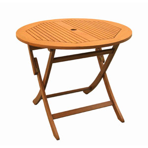 Royal Tahiti Outdoor Round 36-Inch Wood Folding Table