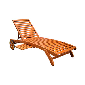 Royal Tahiti Outdoor Wood Chaise Lounge with Wheels