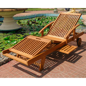 Royal Tahiti Outdoor Chaise Lounge with Multi Sectional Deck, Brown Stain