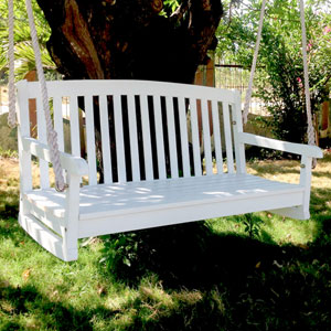 Acacia Two Seater Swing With Curved Back, White Wash