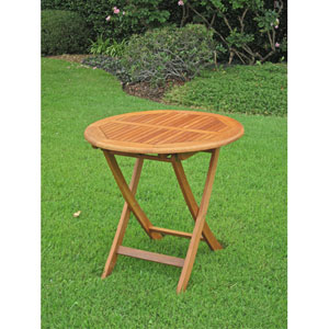 Royal Tahiti Outdoor Wooden 28-Inch Round Folding Table