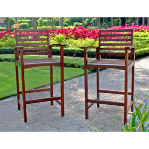 Acacia Brown Highland Maine Bar Stool with Arms, Set of Two