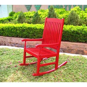 Acacia Wood Red Outdoor Wood Porch Rocker